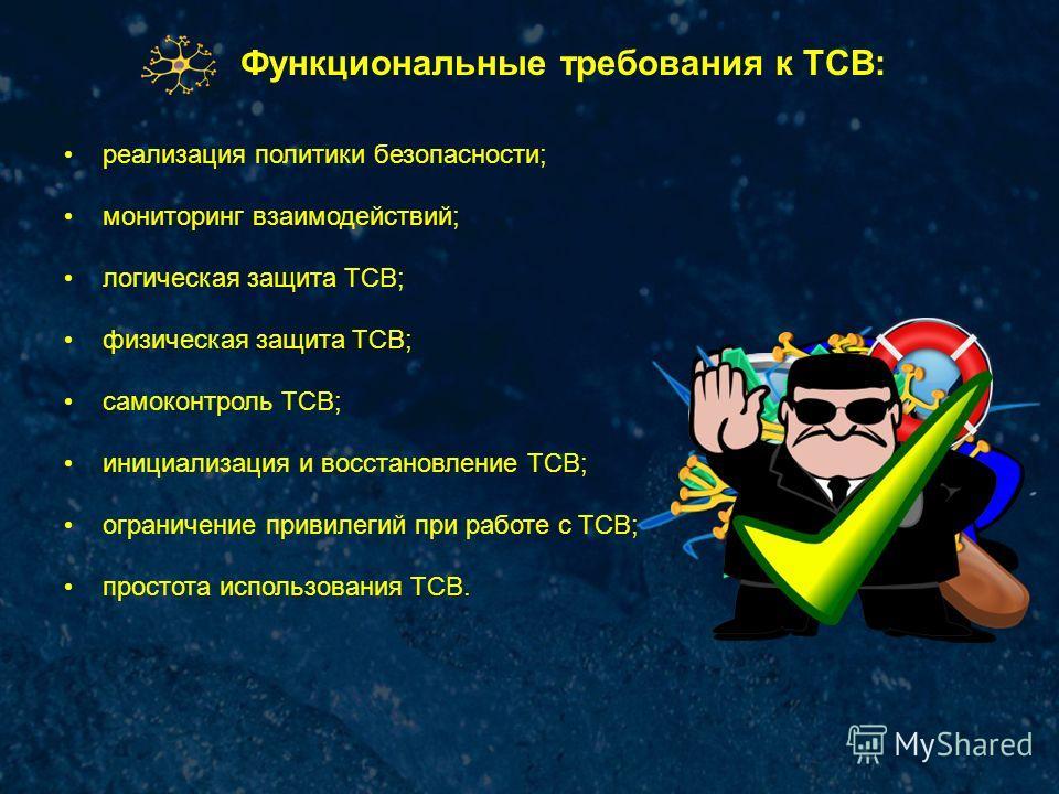 Функциональные требования к ТСВ: реализация политики безопасности; мониторинг взаимодействий; логическая защита TCB; физическая защита TCB; самоконтроль TCB; инициализация и восстановление TCB; ограничение привилегий при работе с TCB; простота исполь