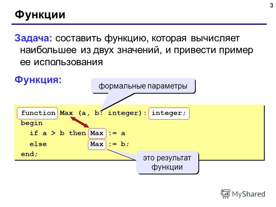 3 Функции Задача: составить функцию, которая вычисляет наибольшее из двух значений, и привести пример ее использования Функция: формальные параметры function Max (a, b: integer): integer; begin if a > b then Max := a else Max := b; end; это результат