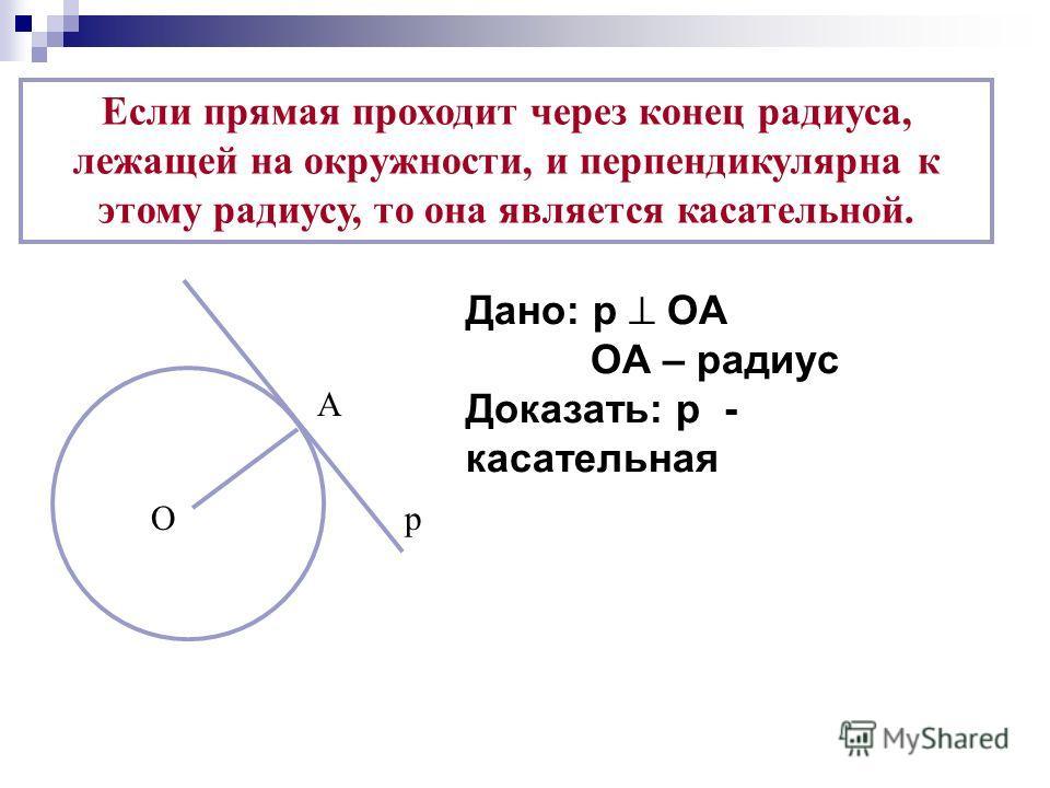 Если прямая проходит через конец радиуса, лежащей на окружности, и перпендикулярна к этому радиусу, то она является касательной. А Ор Дано: р ОА ОА – радиус Доказать: р - касательная