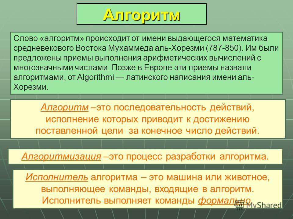 Алгоритм Слово «алгоритм» происходит от имени выдающегося математика средневекового Востока Мухаммеда аль-Хорезми (787-850). Им были предложены приемы выполнения арифметических вычислений с многозначными числами. Позже в Европе эти приемы назвали алг