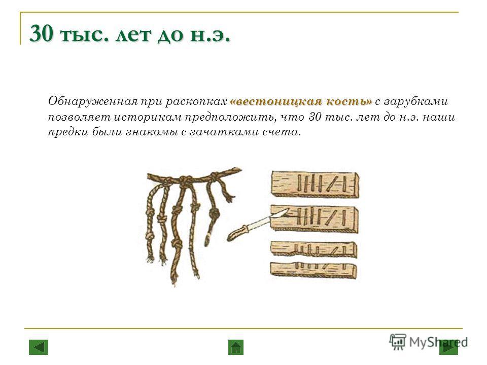 30 тыс. лет до н.э. «вестоницкая кость» Обнаруженная при раскопках «вестоницкая кость» с зарубками позволяет историкам предположить, что 30 тыс. лет до н.э. наши предки были знакомы с зачатками счета.