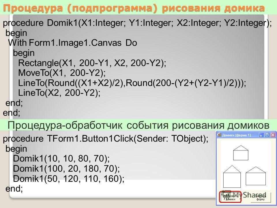 Процедура (подпрограмма) рисования домика procedure Domik1(X1:Integer; Y1:Integer; X2:Integer; Y2:Integer); begin With Form1.Image1.Canvas Do begin Rectangle(X1, 200-Y1, X2, 200-Y2); MoveTo(X1, 200-Y2); LineTo(Round((X1+X2)/2),Round(200-(Y2+(Y2-Y1)/2