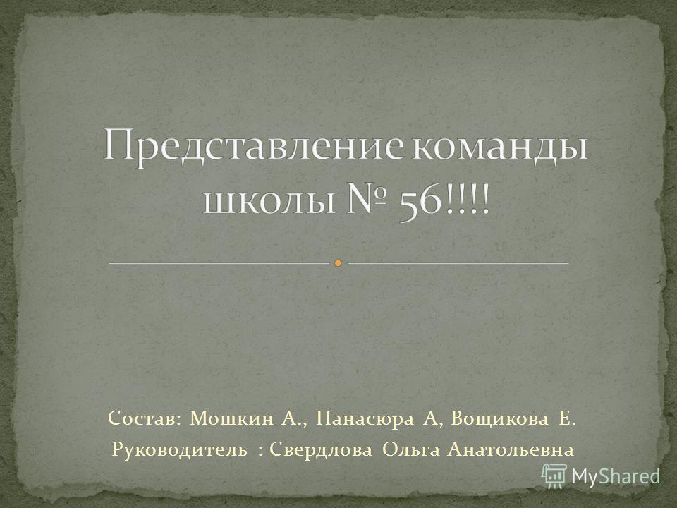 Состав: Мошкин А., Панасюра А, Вощикова Е. Руководитель : Свердлова Ольга Анатольевна