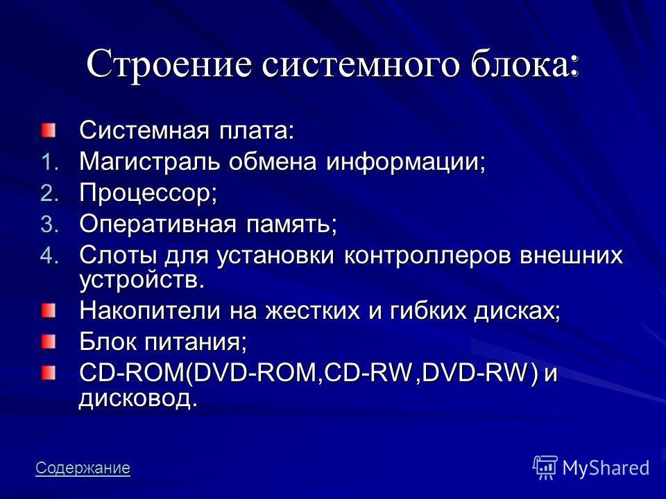 Строение системного блока: Системная плата: 1. М агистраль обмена информации; 2. П роцессор; 3. О перативная память; 4. С лоты для установки контроллеров внешних устройств. Накопители на жестких и гибких дисках; Блок питания; CD-ROM(DVD-ROM,CD-RW,DVD