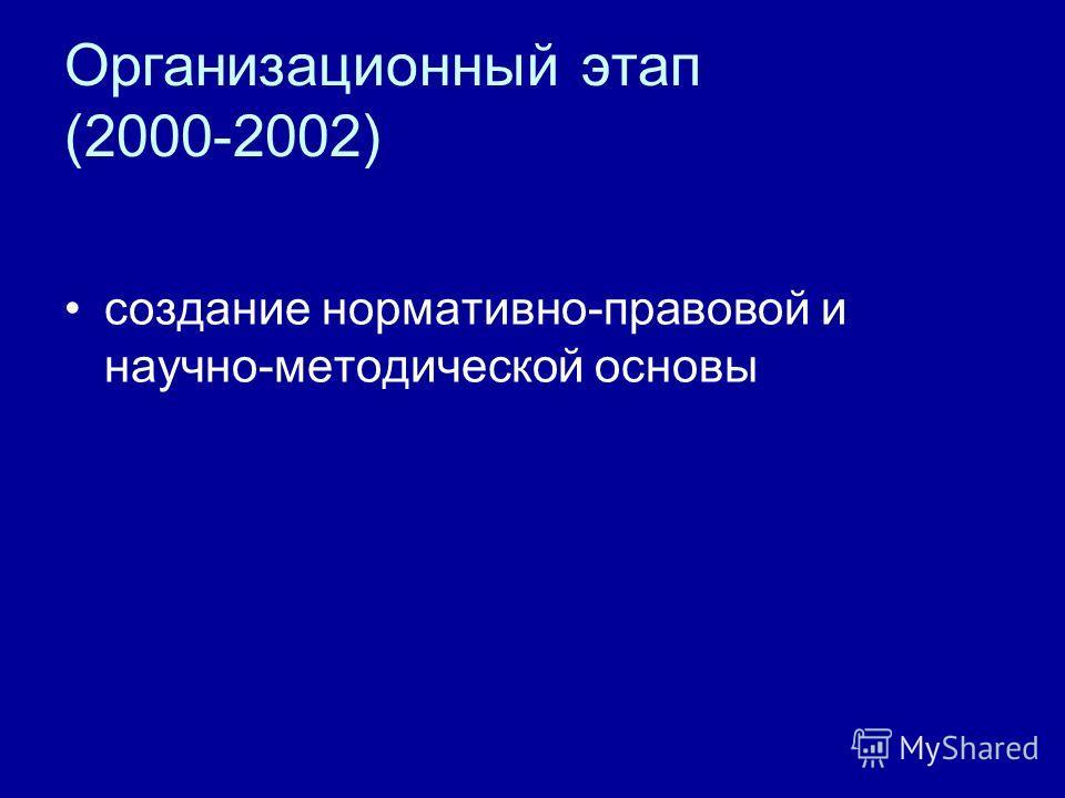 Организационный этап (2000-2002) создание нормативно-правовой и научно-методической основы