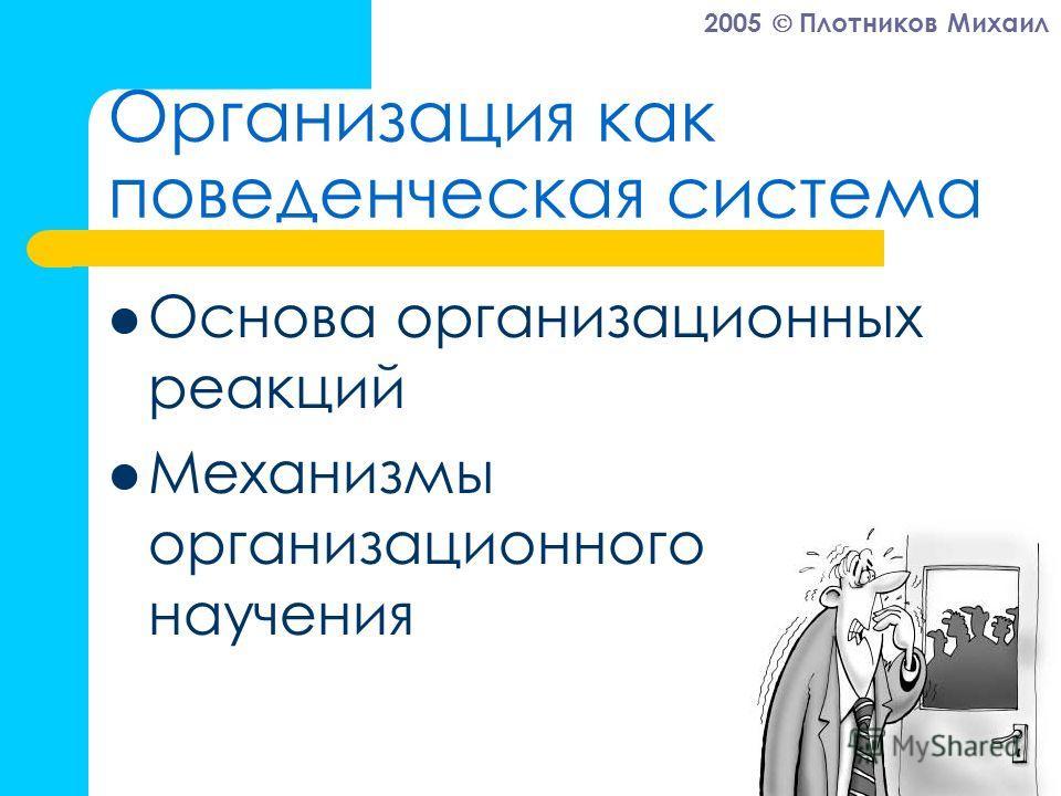 2005 Плотников Михаил Организация как поведенческая система Основа организационных реакций Механизмы организационного научения