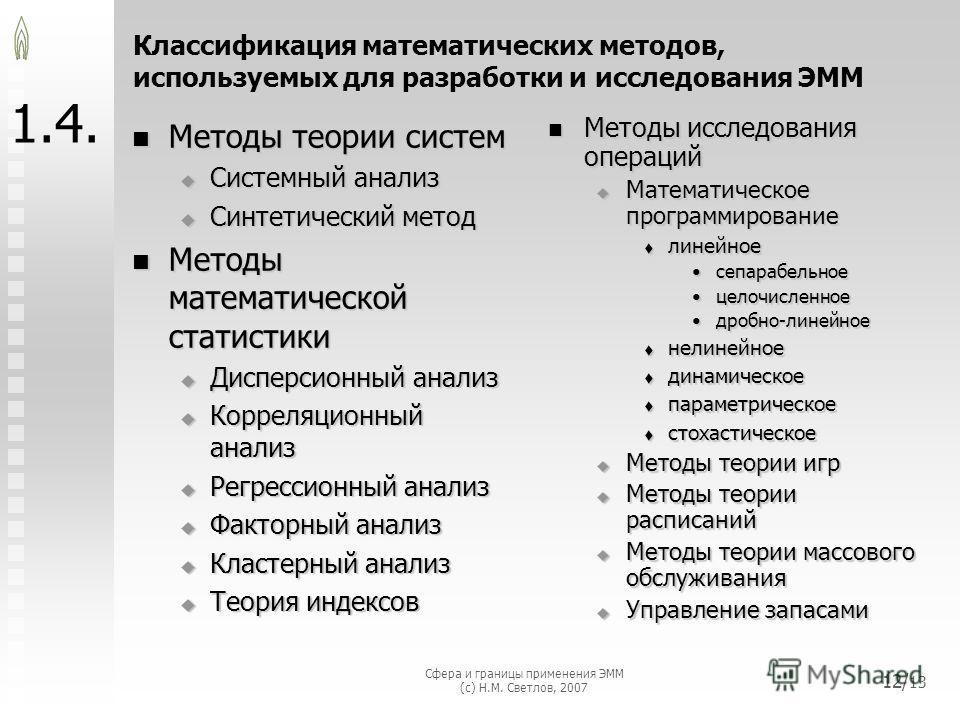 Сфера и границы применения ЭММ (с) Н.М. Светлов, 2007 12/ 13 1.4. Методы теории систем Методы теории систем Системный анализ Системный анализ Синтетический метод Синтетический метод Методы математической статистики Методы математической статистики Ди