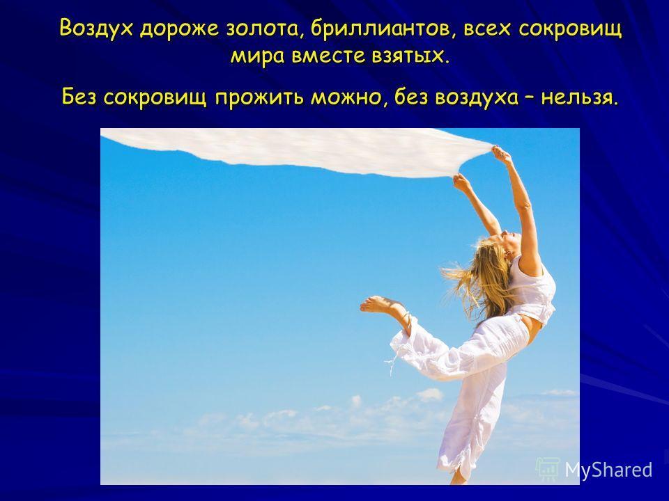 Воздух дороже золота, бриллиантов, всех сокровищ мира вместе взятых. Без сокровищ прожить можно, без воздуха – нельзя.