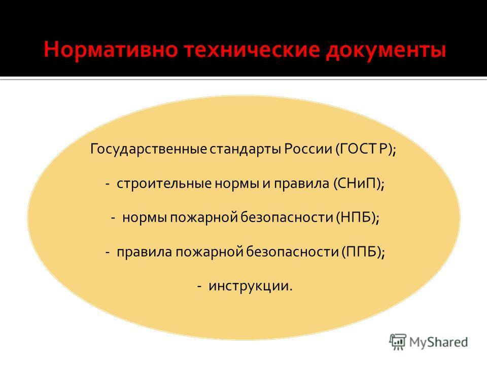 Государственные стандарты России (ГОСТ Р); - строительные нормы и правила (СНиП); - нормы пожарной безопасности (НПБ); - правила пожарной безопасности (ППБ); - инструкции.