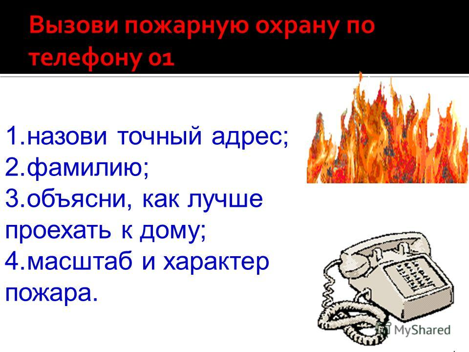 1.назови точный адрес; 2.фамилию; 3.объясни, как лучше проехать к дому; 4.масштаб и характер пожара.