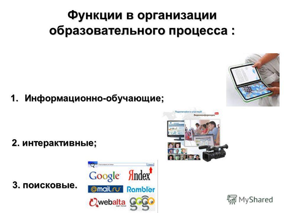 Функции в организации образовательного процесса : 1.Информационно-обучающие; 2. интерактивные; 3. поисковые.