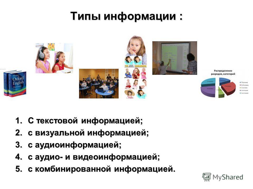 Типы информации : 1.С текстовой информацией; 2.c визуальной информацией; 3.c аудиоинформацией; 4.с аудио- и видеоинформацией; 5.с комбинированной информацией.