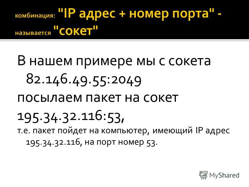 В нашем примере мы с сокета 82.146.49.55:2049 посылаем пакет на сокет 195.34.32.116:53, т.е. пакет пойдет на компьютер, имеющий IP адрес 195.34.32.116, на порт номер 53.