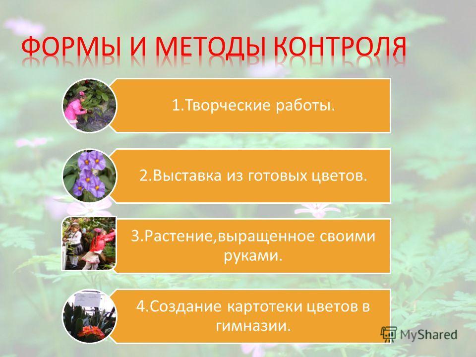 1.Творческие работы. 2.Выставка из готовых цветов. 3.Растение,выращенное своими руками. 4.Создание картотеки цветов в гимназии.