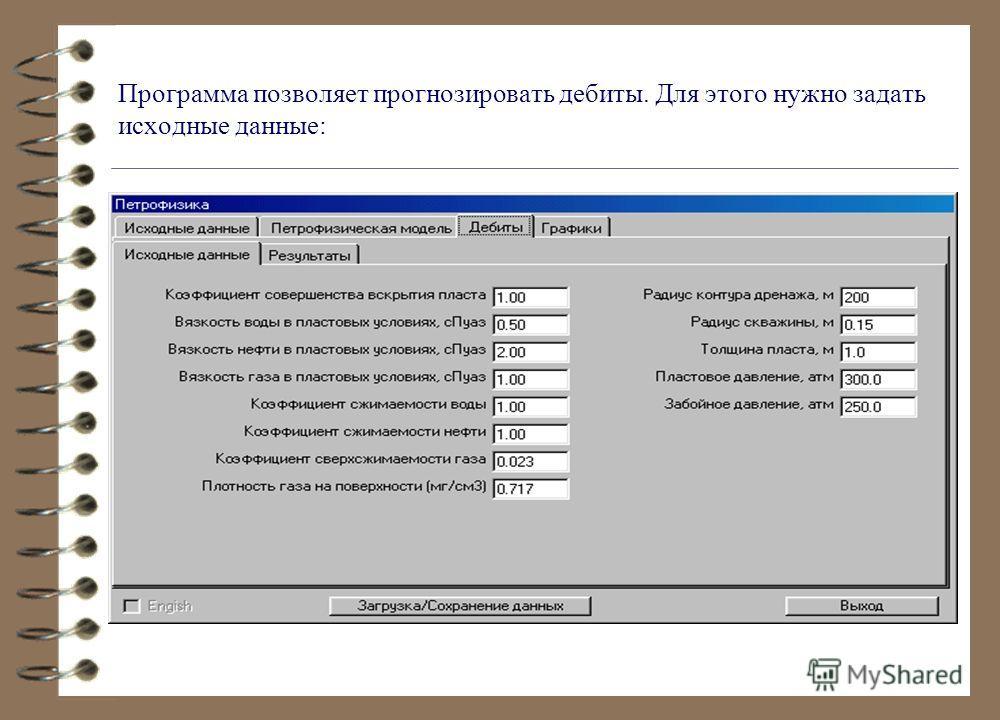 Программа позволяет прогнозировать дебиты. Для этого нужно задать исходные данные: