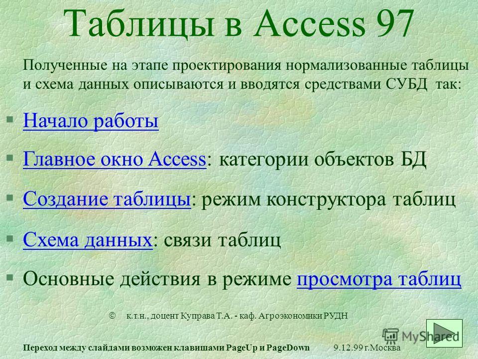 Таблицы в Access 97 Полученные на этапе проектирования нормализованные таблицы и схема данных описываются и вводятся средствами СУБД так: §Начало работыНачало работы §Главное окно Access: категории объектов БДГлавное окно Access §Создание таблицы: ре