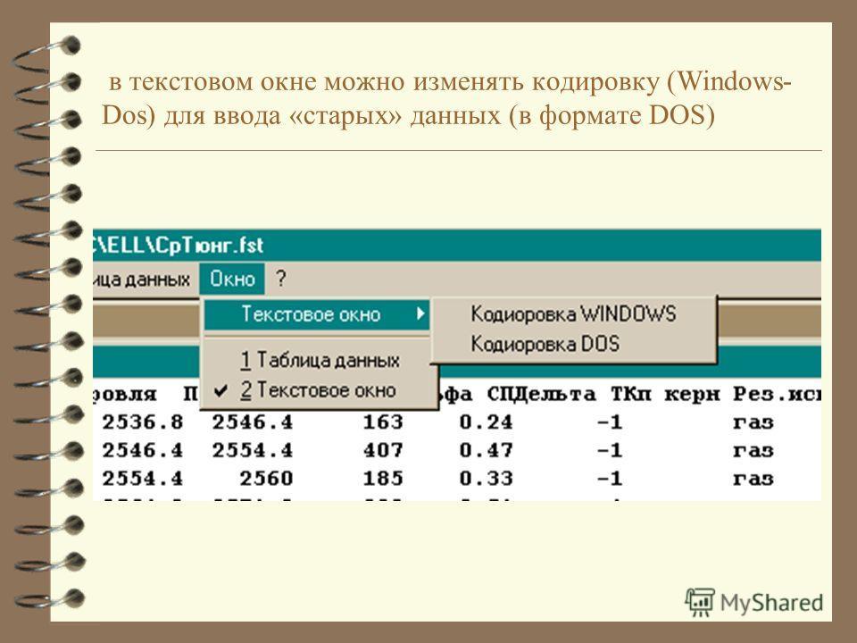 в текстовом окне можно изменять кодировку (Windows- Dos) для ввода «старых» данных (в формате DOS)