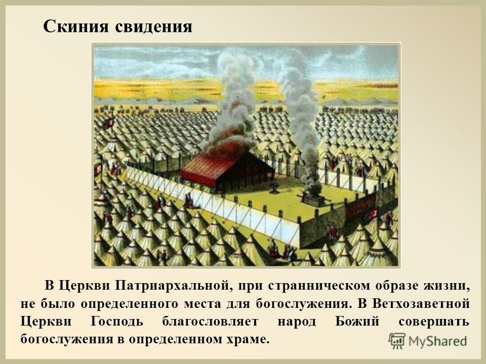 В Церкви Патриархальной, при странническом образе жизни, не было определенного места для богослужения. В Ветхозаветной Церкви Господь благословляет народ Божий совершать богослужения в определенном храме. Скиния свидения