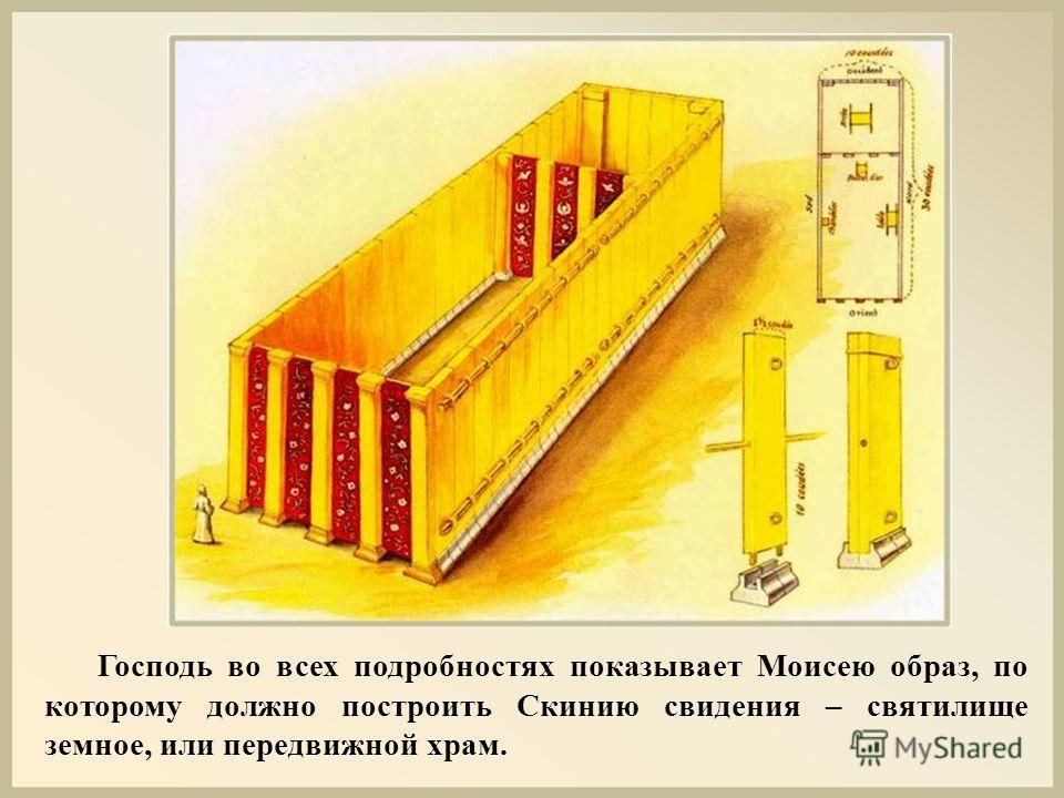 Господь во всех подробностях показывает Моисею образ, по которому должно построить Скинию свидения – святилище земное, или передвижной храм.