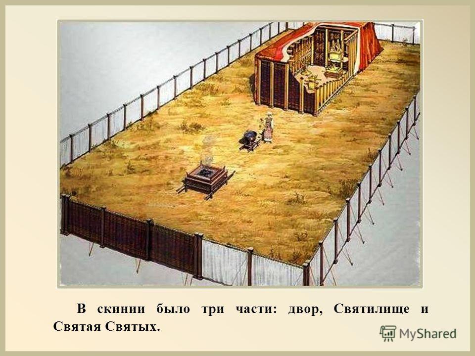 В скинии было три части: двор, Святилище и Святая Святых.