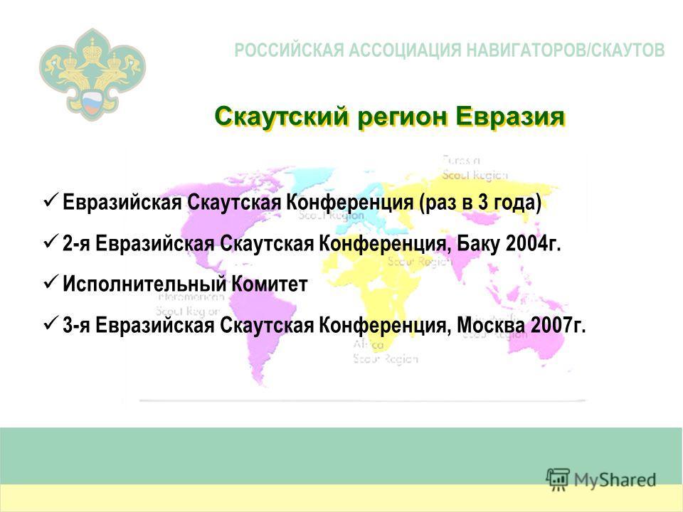 Скаутский регион Евразия Евразийская Скаутская Конференция (раз в 3 года) 2-я Евразийская Скаутская Конференция, Баку 2004г. Исполнительный Комитет 3-я Евразийская Скаутская Конференция, Москва 2007г.