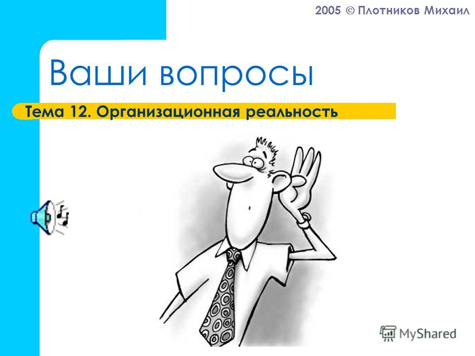 2005 Плотников Михаил Ваши вопросы Тема 12. Организационная реальность