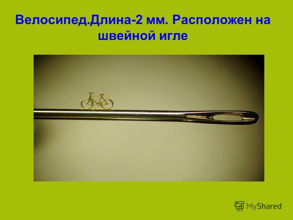 Велосипед.Длина-2 мм. Расположен на швейной игле
