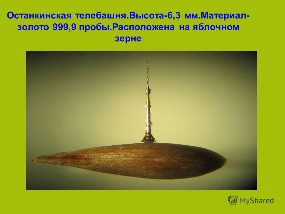 Останкинская телебашня.Высота-6,3 мм.Материал- золото 999,9 пробы.Расположена на яблочном зерне