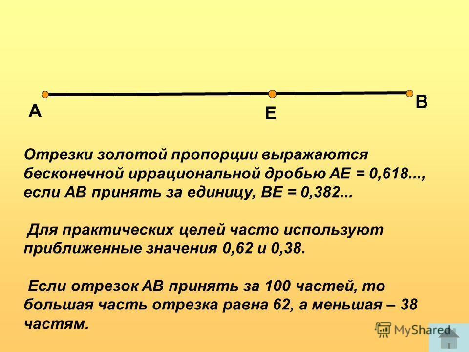 Отрезки золотой пропорции выражаются бесконечной иррациональной дробью AE = 0,618..., если АВ принять за единицу, ВЕ = 0,382... Для практических целей часто используют приближенные значения 0,62 и 0,38. Если отрезок АВ принять за 100 частей, то больш