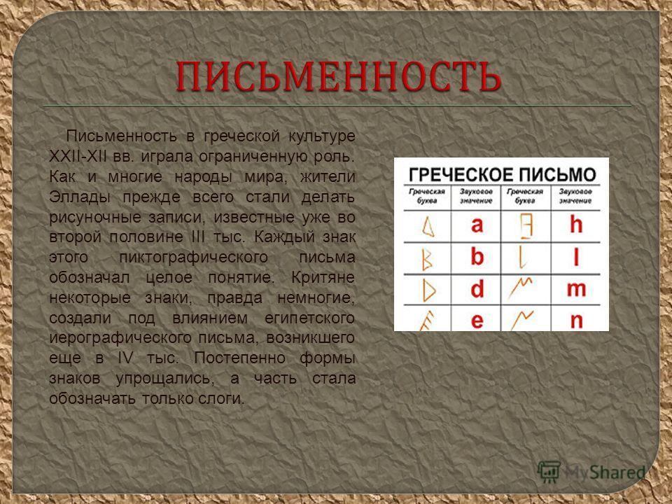 Письменность в греческой культуре XXII-XII вв. играла ограниченную роль. Как и многие народы мира, жители Эллады прежде всего стали делать рисуночные записи, известные уже во второй половине III тыс. Каждый знак этого пиктографического письма обознач