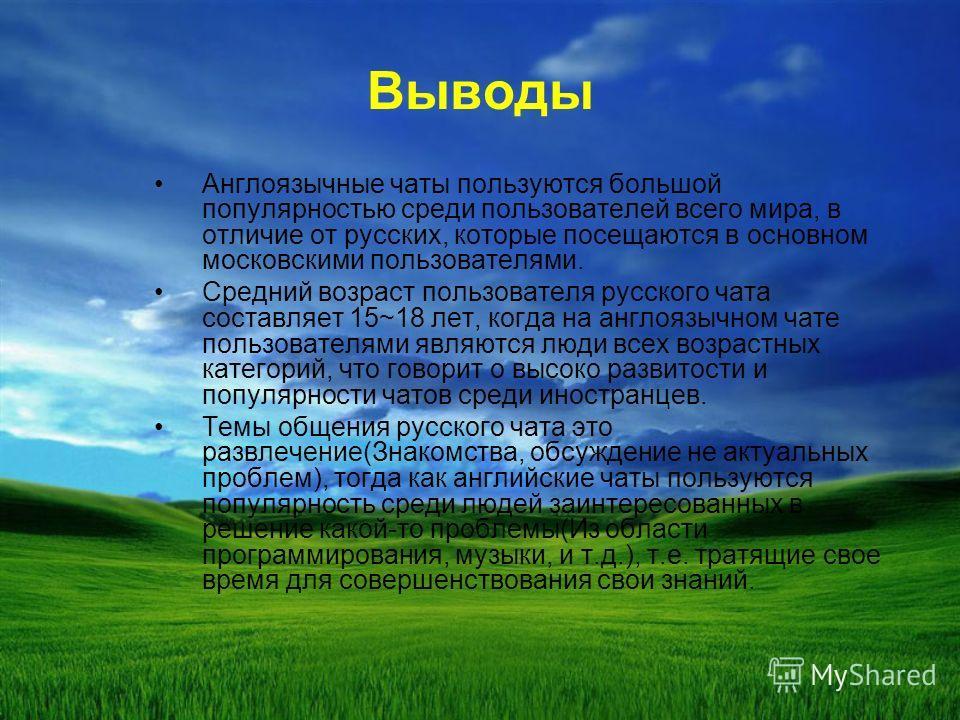 Выводы Англоязычные чаты пользуются большой популярностью среди пользователей всего мира, в отличие от русских, которые посещаются в основном московскими пользователями. Средний возраст пользователя русского чата составляет 15~18 лет, когда на англоя