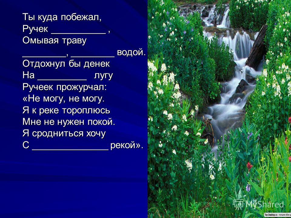 Ты куда побежал, Ручек __________, Омывая траву ________, ________ водой. Отдохнул бы денек На _________ лугу Ручеек прожурчал: «Не могу, не могу. Я к реке тороплюсь Мне не нужен покой. Я сродниться хочу С ______________ рекой». молодой чистойсвежейз