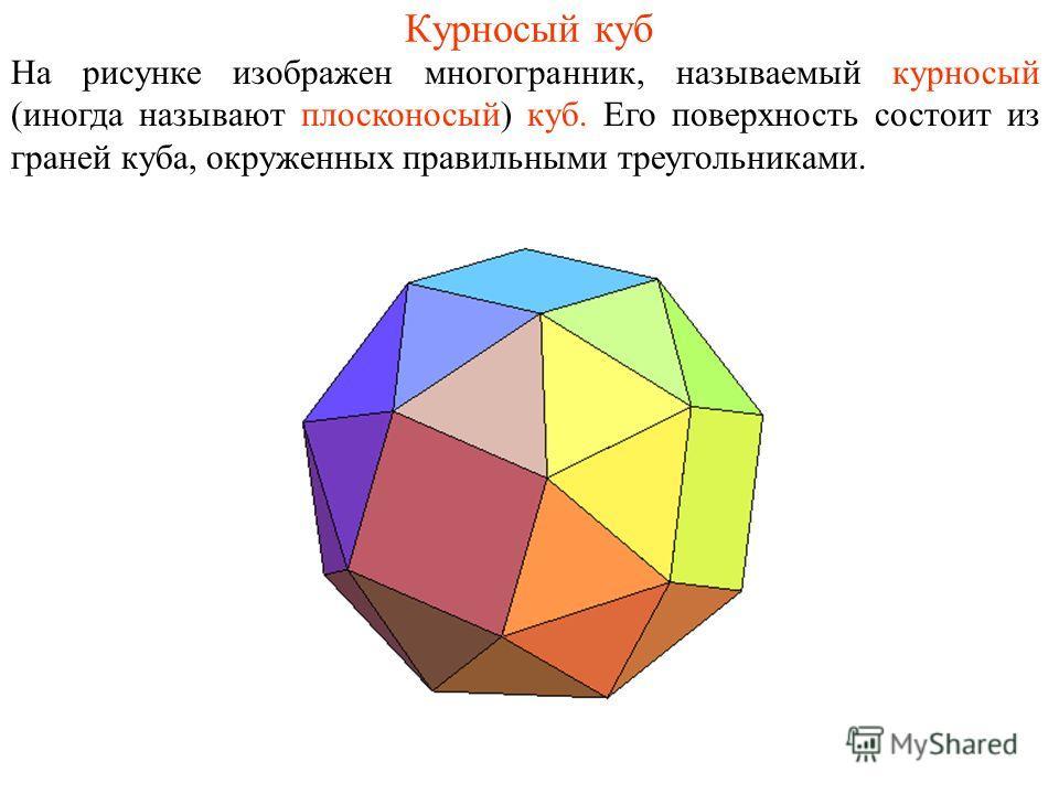 Курносый куб На рисунке изображен многогранник, называемый курносый (иногда называют плосконосый) куб. Его поверхность состоит из граней куба, окруженных правильными треугольниками.
