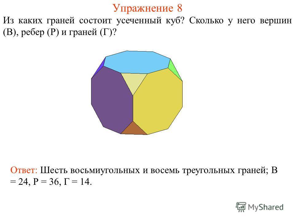 Упражнение 8 Из каких граней состоит усеченный куб? Сколько у него вершин (В), ребер (Р) и граней (Г)? Ответ: Шесть восьмиугольных и восемь треугольных граней; В = 24, Р = 36, Г = 14.