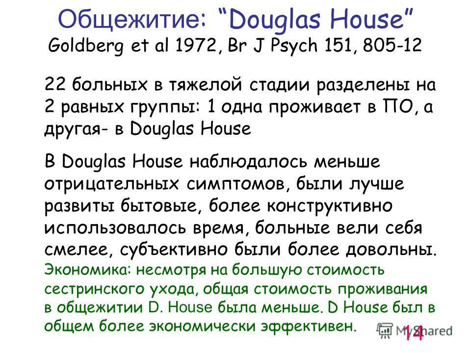 Общежитие : Douglas House Goldberg et al 1972, Br J Psych 151, 805-12 22 больных в тяжелой стадии разделены на 2 равных группы: 1 одна проживает в ПО, а другая- в Douglas House В Douglas House наблюдалось меньше отрицательных симптомов, были лучше ра