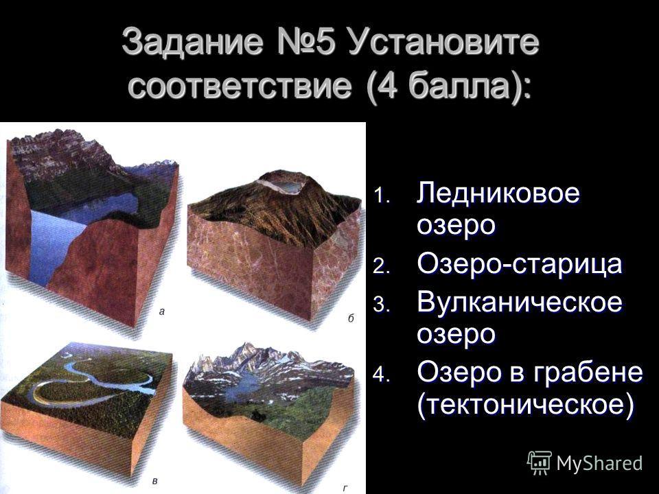 Задание 5 Установите соответствие (4 балла): 1. Ледниковое озеро 2. Озеро-старица 3. Вулканическое озеро 4. Озеро в грабене (тектоническое)