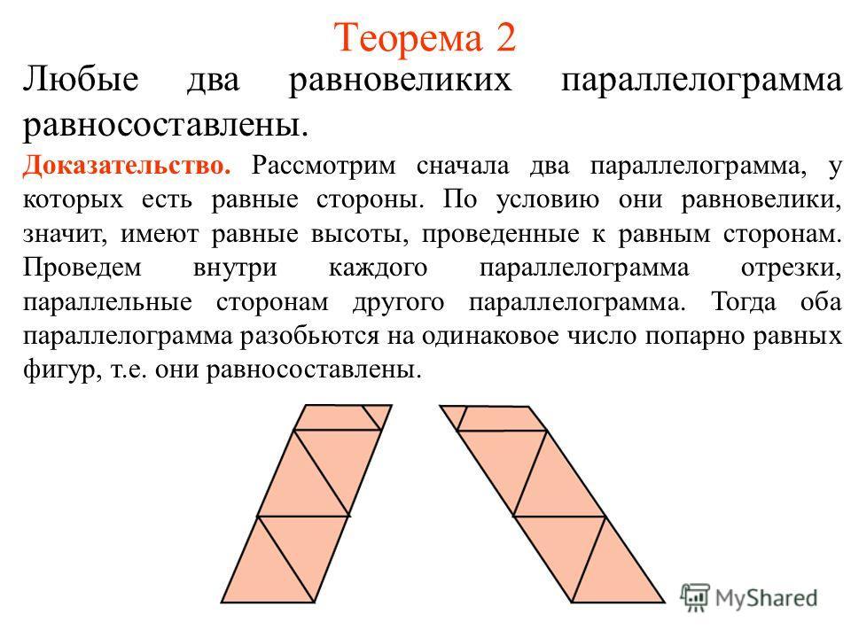 Теорема 2 Любые два равновеликих параллелограмма равносоставлены. Доказательство. Рассмотрим сначала два параллелограмма, у которых есть равные стороны. По условию они равновелики, значит, имеют равные высоты, проведенные к равным сторонам. Проведем