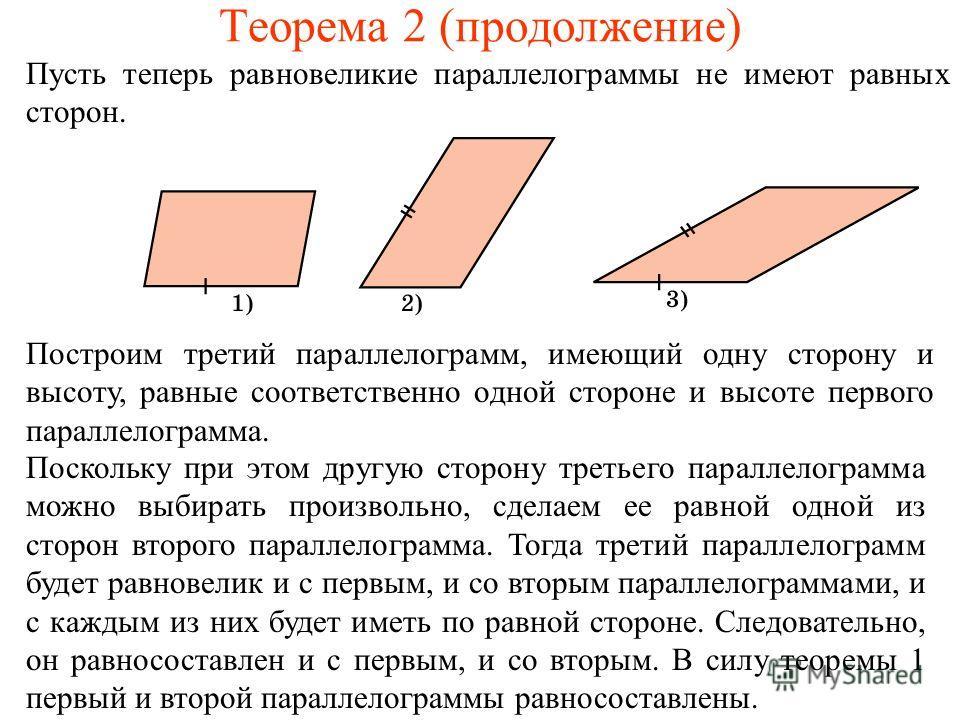 Теорема 2 (продолжение) Пусть теперь равновеликие параллелограммы не имеют равных сторон. Построим третий параллелограмм, имеющий одну сторону и высоту, равные соответственно одной стороне и высоте первого параллелограмма. Поскольку при этом другую с