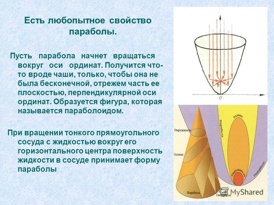 Есть любопытное свойство параболы. Пусть парабола начнет вращаться вокруг оси ординат. Получится что- то вроде чаши, только, чтобы она не была бесконечной, отрежем часть ее плоскостью, перпендикулярной оси ординат. Образуется фигура, которая называет