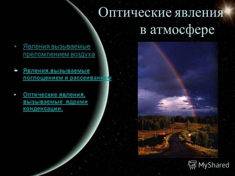 Оптические явления в атмосфере Явления вызываемые преломлением воздухаЯвления вызываемые преломлением воздуха Явления,вызываемые поглощением и рассеиваниемЯвления,вызываемые поглощением и рассеиванием Оптические явления, вызываемые ядрами конденсации