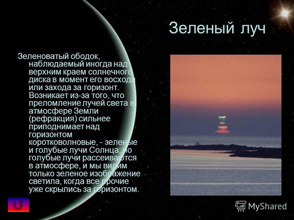 Зеленый луч Зеленоватый ободок, наблюдаемый иногда над верхним краем солнечного диска в момент его восхода или захода за горизонт. Возникает из-за того, что преломление лучей света в атмосфере Земли (рефракция) сильнее приподнимает над горизонтом кор