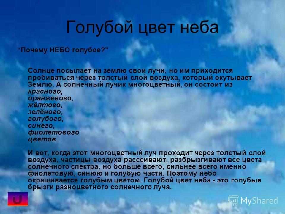 Голубой цвет неба Почему НЕБО голубое?