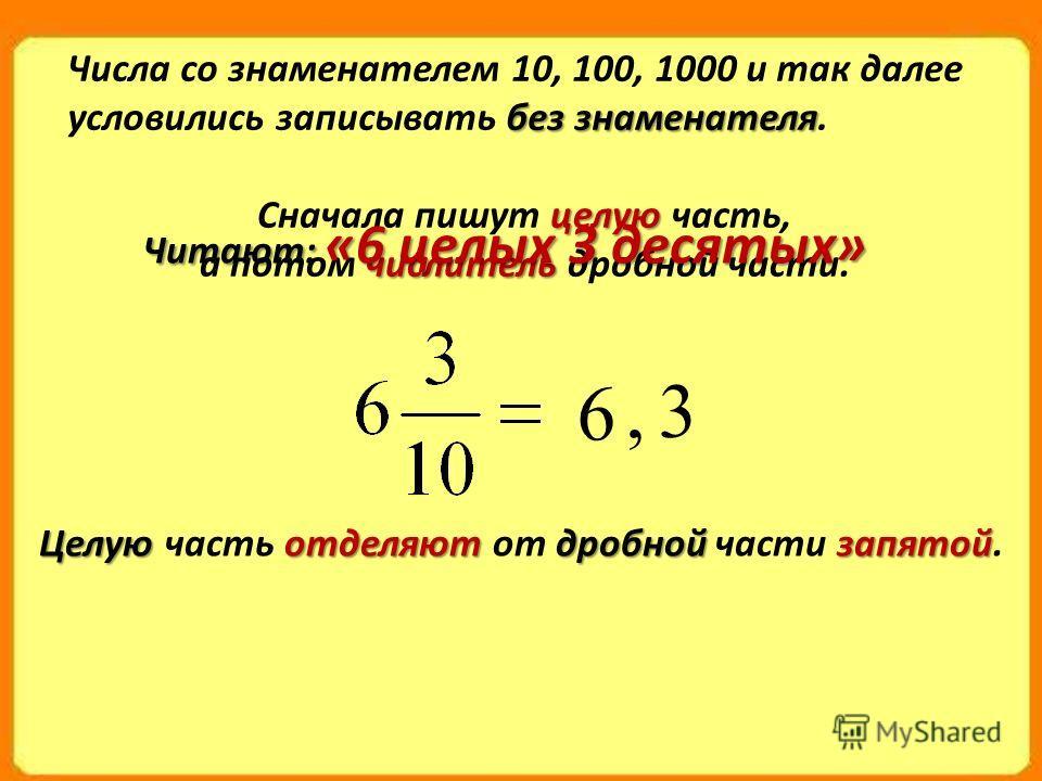 без знаменателя Числа со знаменателем 10, 100, 1000 и так далее условились записывать без знаменателя. целую Сначала пишут целую часть, числитель а потом числитель дробной части. 6 3, Целуюотделяют дробнойзапятой Целую часть отделяют от дробной части