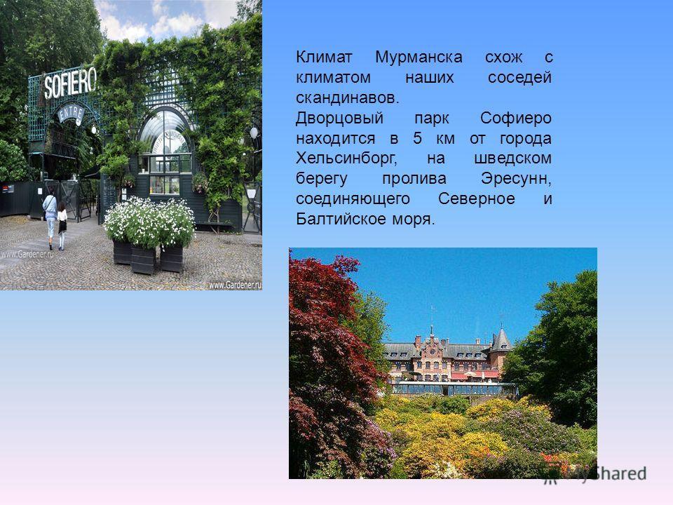 Климат Мурманска схож с климатом наших соседей скандинавов. Дворцовый парк Софиеро находится в 5 км от города Хельсинборг, на шведском берегу пролива Эресунн, соединяющего Северное и Балтийское моря.