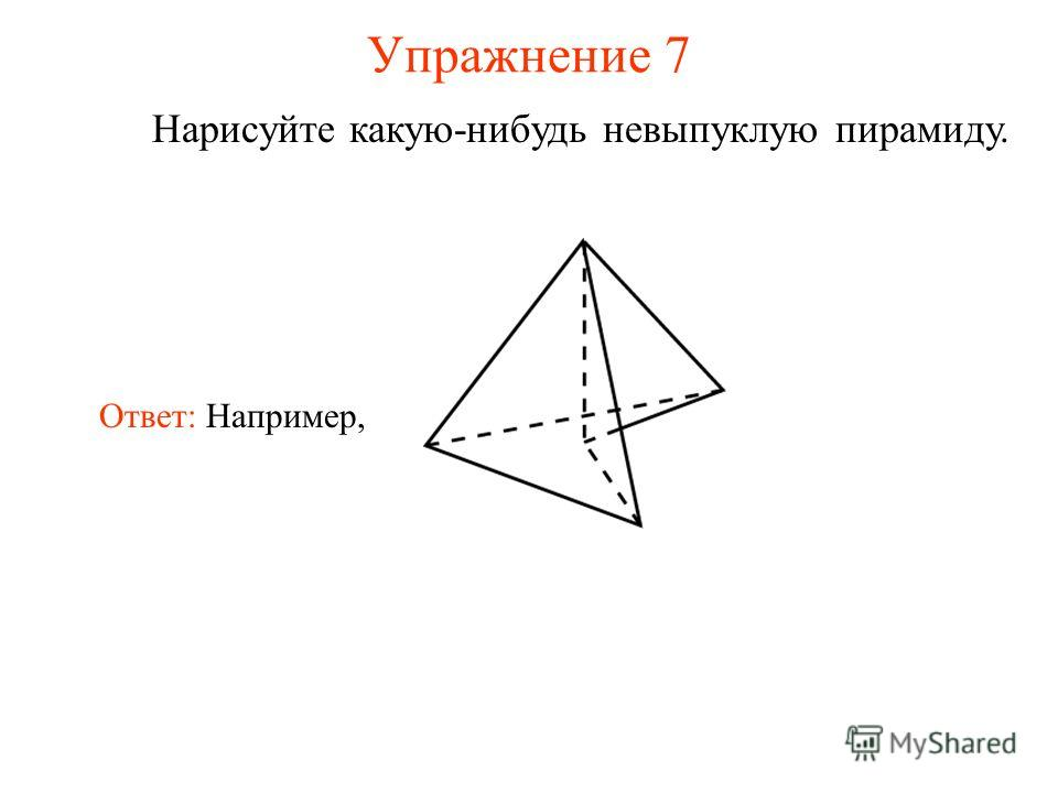 Упражнение 7 Нарисуйте какую-нибудь невыпуклую пирамиду. Ответ: Например,
