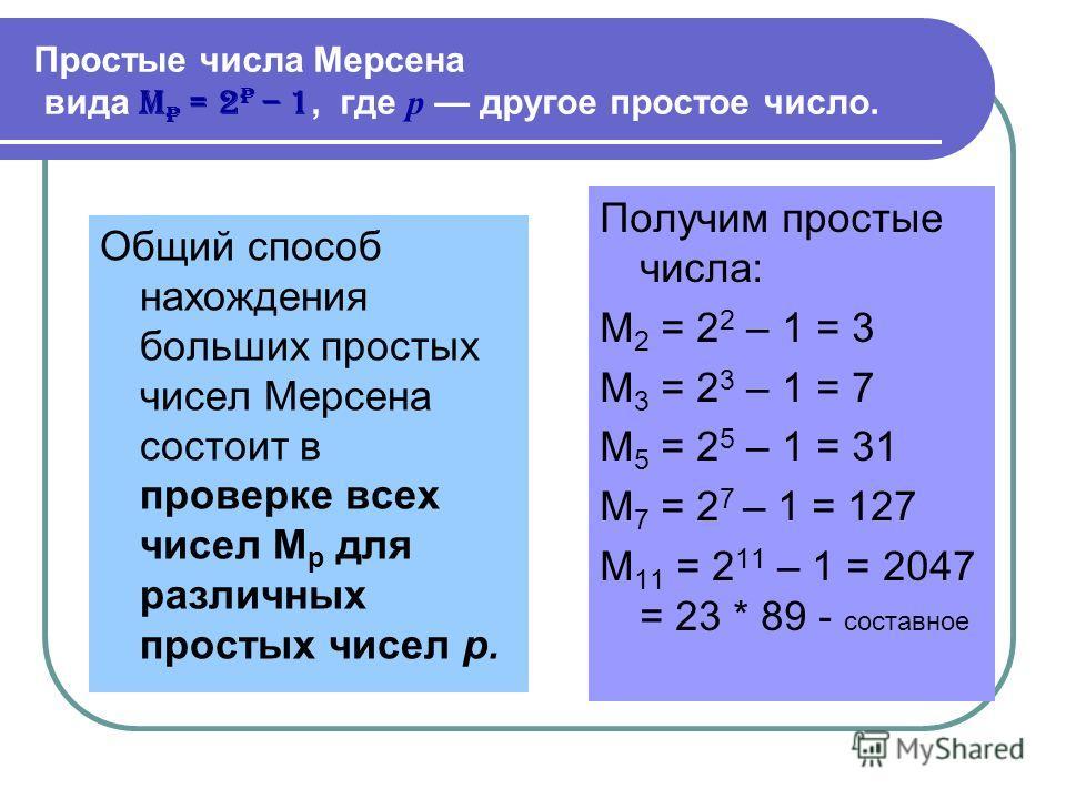 Простые числа Мерсена вида M p = 2 p – 1, где р другое простое число. Общий способ нахождения больших простых чисел Мерсена состоит в проверке всех чисел M p для различных простых чисел р. Получим простые числа: M 2 = 2 2 – 1 = 3 M 3 = 2 3 – 1 = 7 M