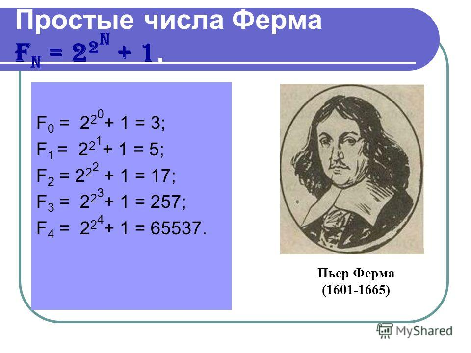Простые числа Ферма F n = 2 2 n + 1. F 0 = 2 2 0 + 1 = 3; F 1 = 2 2 1 + 1 = 5; F 2 = 2 2 2 + 1 = 17; F 3 = 2 2 3 + 1 = 257; F 4 = 2 2 4 + 1 = 65537. Пьер Ферма (1601-1665)