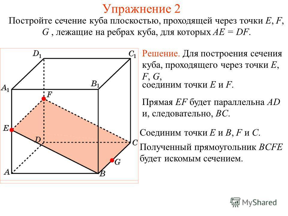 Решение. Для построения сечения куба, проходящего через точки E, F, G, Постройте сечение куба плоскостью, проходящей через точки E, F, G, лежащие на ребрах куба, для которых AE = DF. соединим точки E и F. Прямая EF будет параллельна AD и, следователь