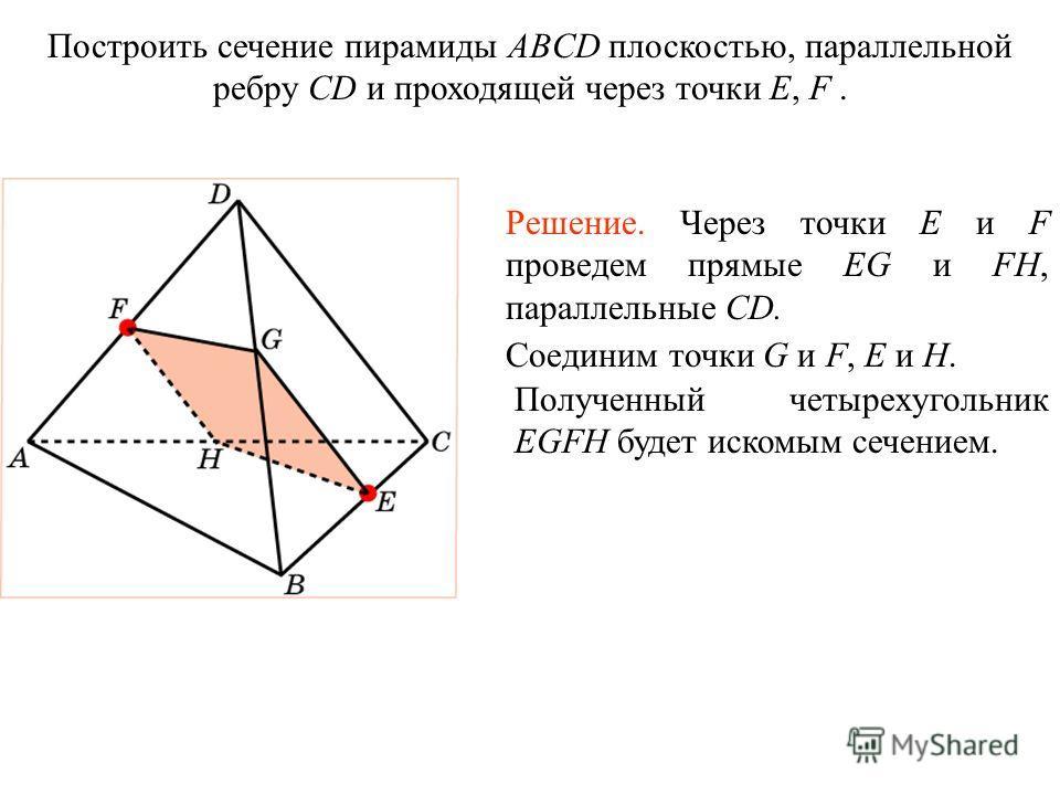Построить сечение пирамиды ABCD плоскостью, параллельной ребру CD и проходящей через точки E, F. Решение. Через точки E и F проведем прямые EG и FH, параллельные CD. Соединим точки G и F, E и H. Полученный четырехугольник EGFH будет искомым сечением.