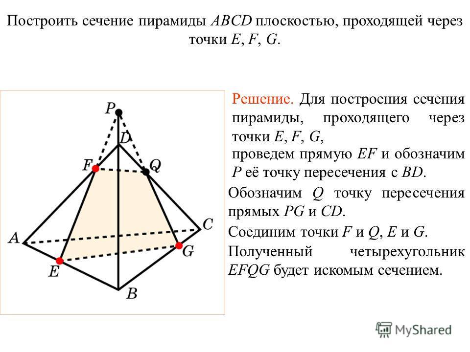 Решение. Для построения сечения пирамиды, проходящего через точки E, F, G, проведем прямую EF и обозначим P её точку пересечения с BD. Обозначим Q точку пересечения прямых PG и CD. Соединим точки F и Q, E и G. Построить сечение пирамиды ABCD плоскост